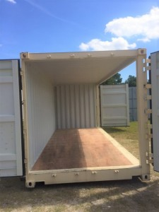 20' One Trip Open Side Container - View from end and side doors open